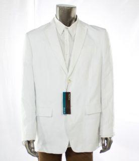 Perry Ellis NEW White Mens Blazer Herringbone Two Button Sportscoat