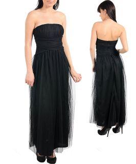 NEW CAMILA CLOTHING Sexy Long BLACK Strapless GOTHIC Club Prom DRESS