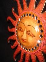 Balinese Celestial Mosaic Sun Sunburst~Hand Carved painted ~Bali Wall