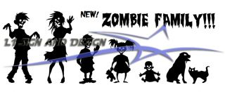 the new zombie family vinyl vehicle decal you can pick color and