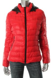 Famous Catalog Moda New Red Hooded Zip Front Light Weight Puffer Coat