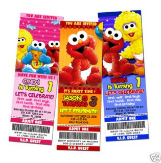 Elmo Sesame Street Ticket Birthday Party Invitation