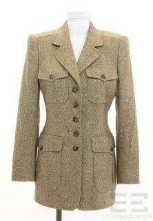 ESCADA Tan Brown Cashmere Button Front Jacket Size 34