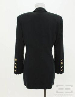 ESCADA Black Label Navy Gold Button Double Breasted Blazer Size 36