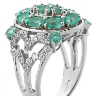 84ct Colombian Emerald and White Zircon Sterling Silver Oval Ring at