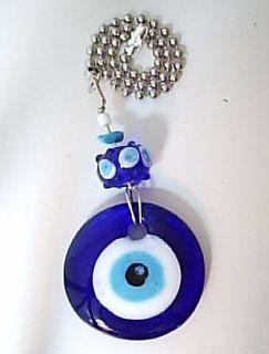 fan pull light chain glass evil eye good luck charm