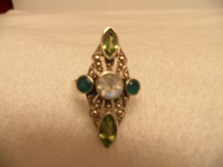 NICKY BUTLER ELONGATED RING WITH MOONSTONE PERIDOT & GREEN TOPAZ SZ 10