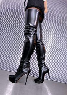 Extreme Overknee Plateau Stiefel Boots Stivali Leder Schwarz Black
