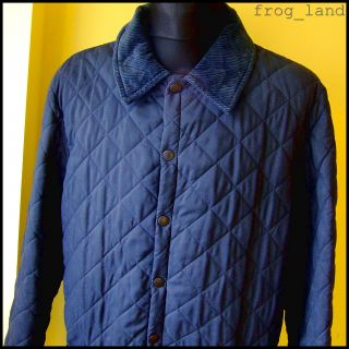 Vtg Mens Barbour Eskdale Quilted Jacket XL Indie Navy Blue Hunting
