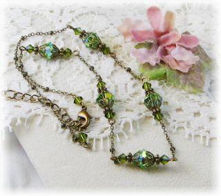 Green w Swarovski Crystal Choker Jewelry Vtg Necklace Lovely