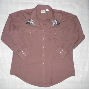 Vtg Ely XL Embroidered Horses Pearl Snap Cowboy Rockabilly Western