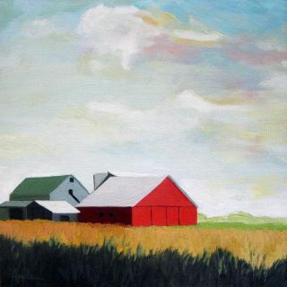 RED BARN Farm and sky LANDSCAPE Original Oil Painting by L. Apple