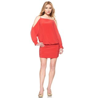 175 158 abs prive prive dolman sleeve cold shoulder dress orange
