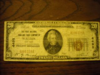 1929 Twenty Dollar Bill The First National Bank and Trust of Walton