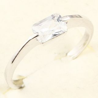 4x6mm Emerald Cut White Sapphire 78 Ring