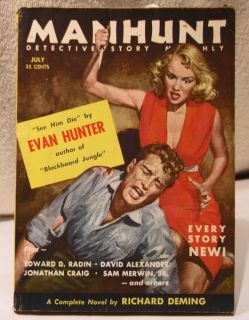 Story Mystery Magazine July 1955 Evan Hunter Good Girl Art VG