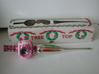 Vtg POLAND Pink Triple INDENT MERCURY GLASS Christmas Tree TOPPER Top