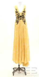 ETRO Yellow Black Silk Pleated Full Length Dress Size 44