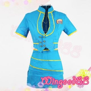Babydoll Air Hostess Flight Attendant Costume Fancy Dress