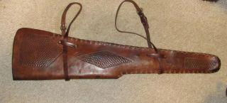 Eubanks Leather Saddle Rifle Scabbard for Win M70 1950s No Res