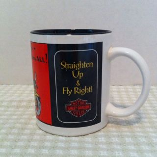 Harley Davidson Coffee Mug 1993 Straighten Up & Fly Right with Free