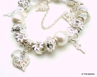 White Wedding Flower Girl Confirmation Charm Bracelet