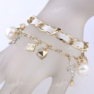 White Faux Pearl Cross Charms Beads Chain Bracelet Adjust Korean Vogue