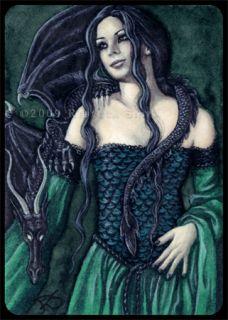 ACEO Le Prints Fantasy Art Gothic Dragon Medieval Green