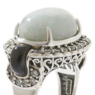 Jewelry Rings Gemstone Jade of Yesteryear Jade, Black Resin and