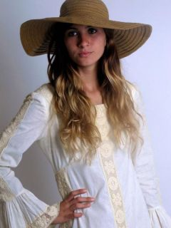 Vtg 60s Emma Domb Boho Hippie Crochet Lace Wedding Maxi Dress Bell