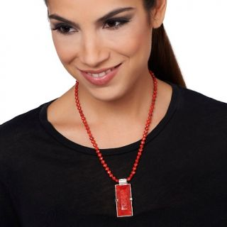 Jay King Orange and Red Coral Pendant with Beaded Necklace