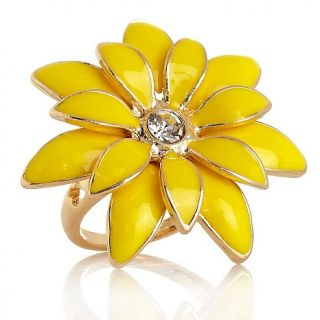 185 591 niecy nash collection crystal and enamel goldtone flower ring