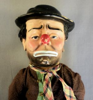 Vtg Emmett Kelly Clown Hard Plastic Rubber Doll Figurine 14 Unknown