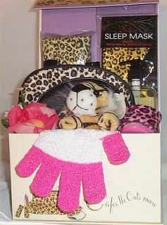 Leopard Print Gift Basket Vanilla Spa Bath Soap Fashion Acessories