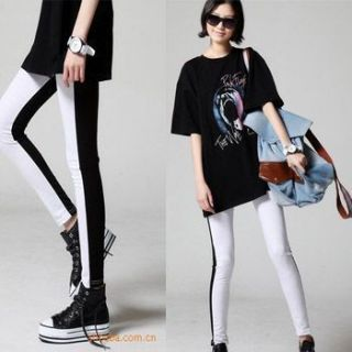 Fashion Punk Rock Black and White Tights Pants Leggings