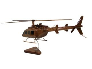 Bell 407 Jet Ranger Helicopter Air EVAC EMS Wooden Mahogany Wood Model