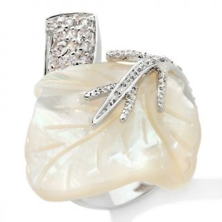Justine Simmons Jewelry Mother of Pearl CZ Leaf Ring at