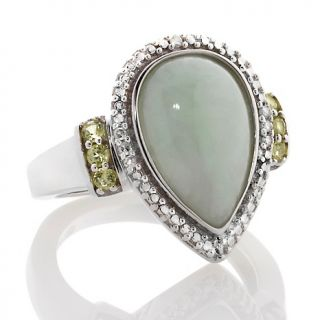 197 434 sterling silver pear shaped green jade and peridot ring with