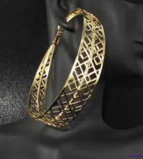 Gold Filigree Extra Large Wide 3 Hoop Hoops Earrings New