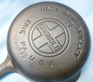 Griswold Erie PA #3 Cast Iron Skillet Large Logo Smooth Bottom 709 I