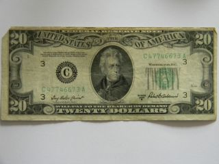1950B Twenty Dollar $20 Federal Reserve C Series Two Way Full House