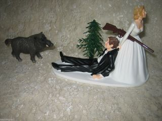 Funny Hunter Hunting Wedding Cake Topper Wild Hog Boar