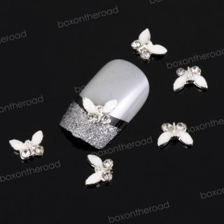 10x Legierung Falter Nail Art Sticker Strass Handy Nagel Design 3D 3