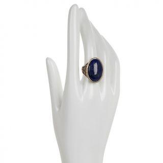 Jewelry Rings Gemstone Studio Barse Oval Lapis Carved Bronze