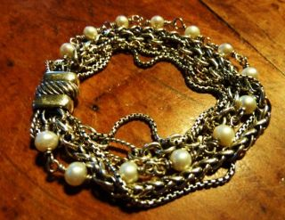 DAVID YURMAN Multi Strand Chain bracelet w/ PEARLS 18K/750 GOLD & .925