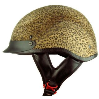 Cheetah Animal Print Fur Felt Bike Motorcycle Half Helmet L