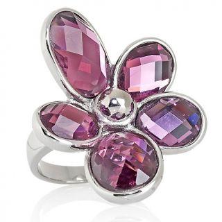 205 584 stately steel stately steel oval crystal flower design ring