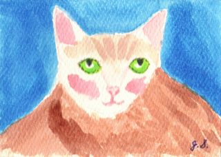 Green Eyed Fat Cat aceo original art watercolor painting Jane