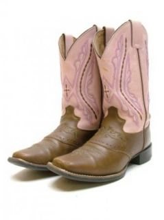 Womens Girls Justin Brown Pink Leather Saddle Cowboy Western Boots