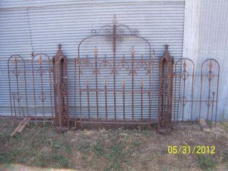 ANTIQUE ORNATE STEEL GATE & FENCE & POSTS ART DECO GOTHIC CAST IRON